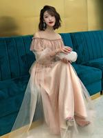 Sequins Banquet Gowns Mesh O Neck Chiffon Long Dress Ankle Length Elegant Slim Evening Party Dresses Vestidos XS 2XL
