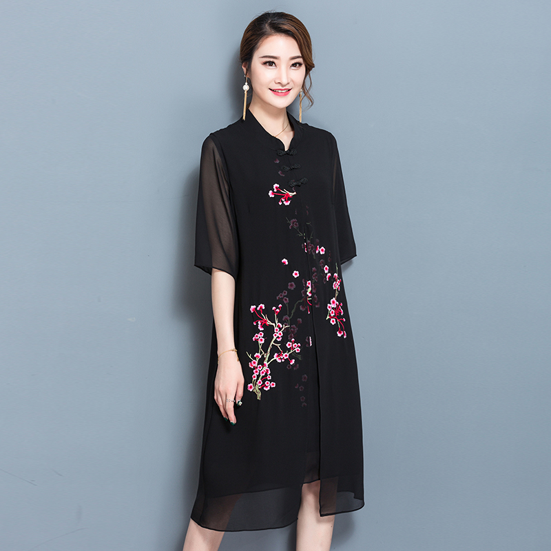 Summer Dress 2017 Free Shipping Short Sleeve Stitching Dress Female Korean Retro Embroidered Dress Plus Size
