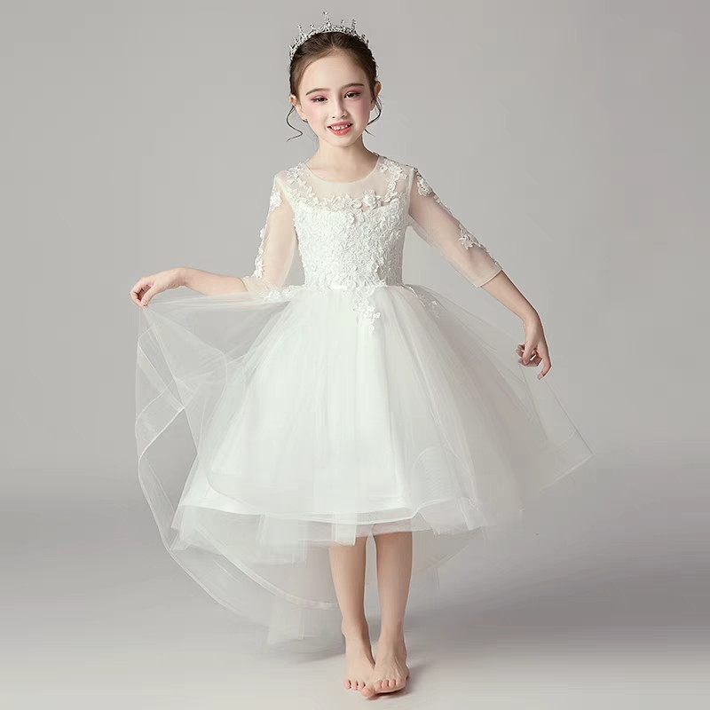 2018 New Children Girls White Color Birthday Wedding Party Tail Princess Lace Dress Baby Kids Elegant Model Show Piano Dress2018 New Children Girls White Color Birthday Wedding Party Tail Princess Lace Dress Baby Kids Elegant Model Show Piano Dress