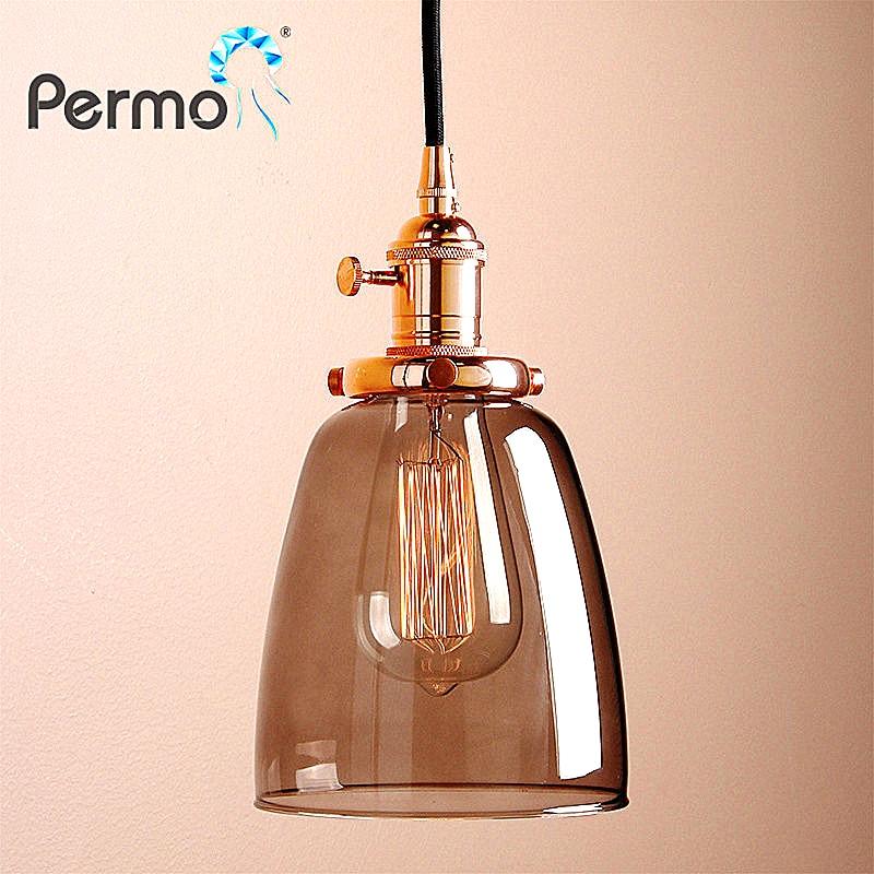 PERMO Grey Glass Pendant Lights Copper Kitchen Pendant Ceiling Lamps Modern Hanglamp Vintage Luminaire Lights Fixture