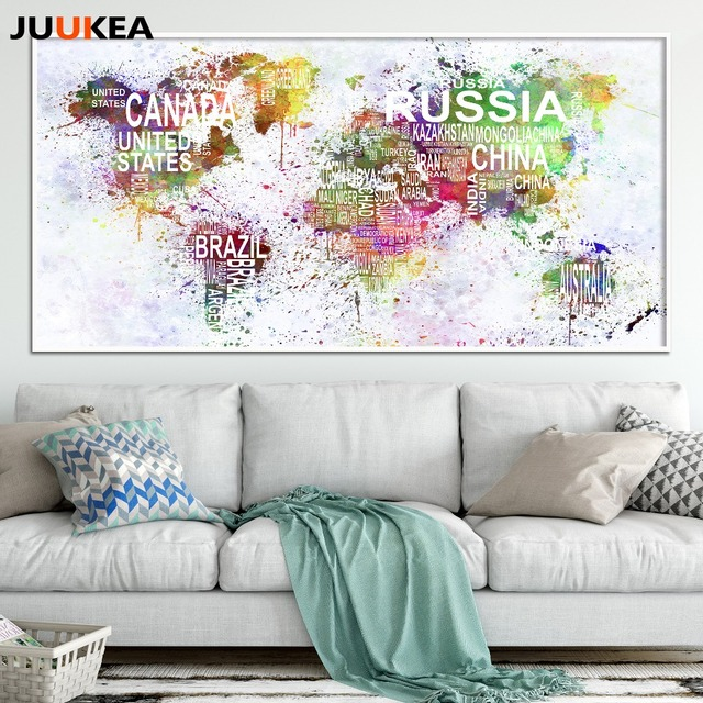 Watercolor exclusive original large size world map canvas print watercolor exclusive original large size world map canvas print painting poster art wall pictures for living gumiabroncs Images