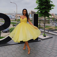 Sweetheart Tea Length Cocktail Party Dress Yellow Appliques A line 2019 Elegant Vestido De Cocktail Party Dress Homecoming Dress