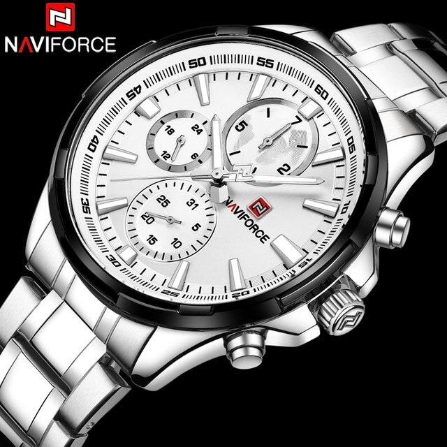 2018 Naviforce Mannen 30M Waterdichte Sport Horloges Heren 24 Uur Datum Week Maand Rvs Quartz Horloges Relogio Feminino