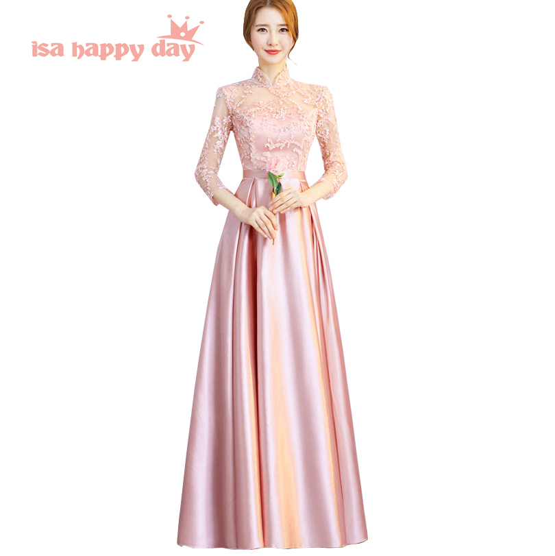 high neck chinese 2019 lace vintage woman evening dresses chinese tradition sexy gown women long satin party dress H4184-in Evening Dresses from Weddings & Events    1