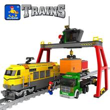 Model building kits compatible with lego city trains rails traffic 668 3D blocks Educational model building toys hobbies