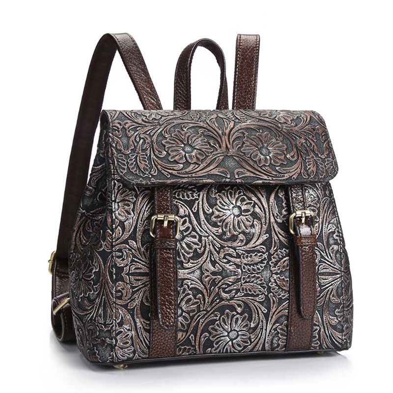 Women Vintage School Backpack Travel Embossed Daypack Rucksack Shoulder Bag Satchel Book Bag Hot Genuine LeatherWomen Vintage School Backpack Travel Embossed Daypack Rucksack Shoulder Bag Satchel Book Bag Hot Genuine Leather