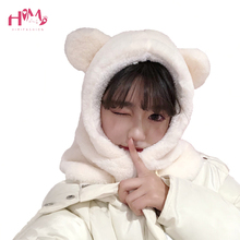 New Fashion Winter Warm Cute Ears Beanies Scarf White Fluffy Warm One Piece Set Cute Bear Skullies Women Plush Caps for Girls