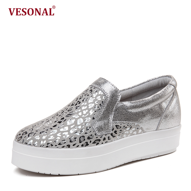 VESONAL Summer Increased Leopard Flat Platform Women Shoes Sneakers Fashion Slip-On Ladies Wedge Female Casual PU Leather Silver women slippers ladies shoes slip on slider fluffy faux fur flat fashion female leopard slipper flip flop sandal zapatos mujer