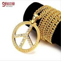 Gold Color Necklace Hip Hop For Men Women Peace Jewelry Spot Classic Style Peace Peace Sign