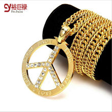 Gold Color Necklace Hip Hop for Men Women Peace Jewelry Spot classic style Peace Peace Sign 2016 Power Bling Love Peace Symbol peace