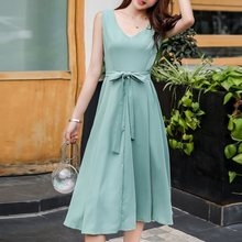 Summer Office Ladies Elegant Korean Style Vintage Women Midi Dresses High Waist Belt Bowknot Lace Up Female Retro Fashion Dress