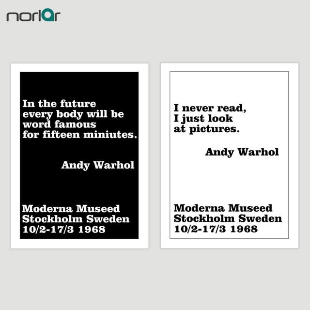 Modern Nordic Black White Minimalist Typography Andy Warhol Life ...