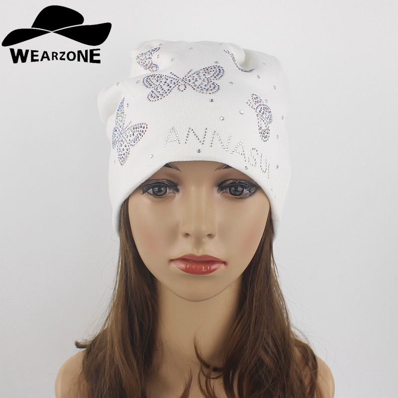Women Beanie Autumn Winter Flashing Rhinestone Bonnet Casual Knitted Caps Solid Snap Slouch Skullies Bonnet Beanie Hats Gorro
