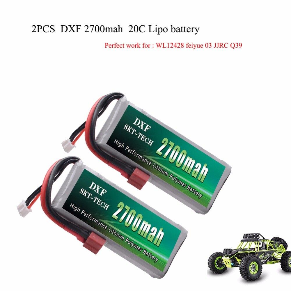 2 pcs DXF RC Lipo Batterie 2 s 7.4 v 2700 mah 20C Max 40C Pour Wltoys 12428 feiyue 03 JJRC Q39 mise à niveau pièces