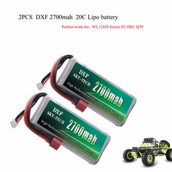 2PCS DXF RC Lipo Battery 2s 7.4V 2700mAh 20C Max 40C For Wltoys 12428 feiyue 03 JJRC Q39 upgrade parts