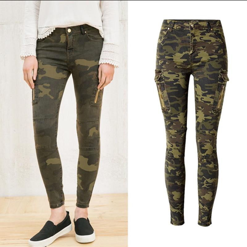 Nueva moda lápiz elástico Pantalones camuflaje militar ...