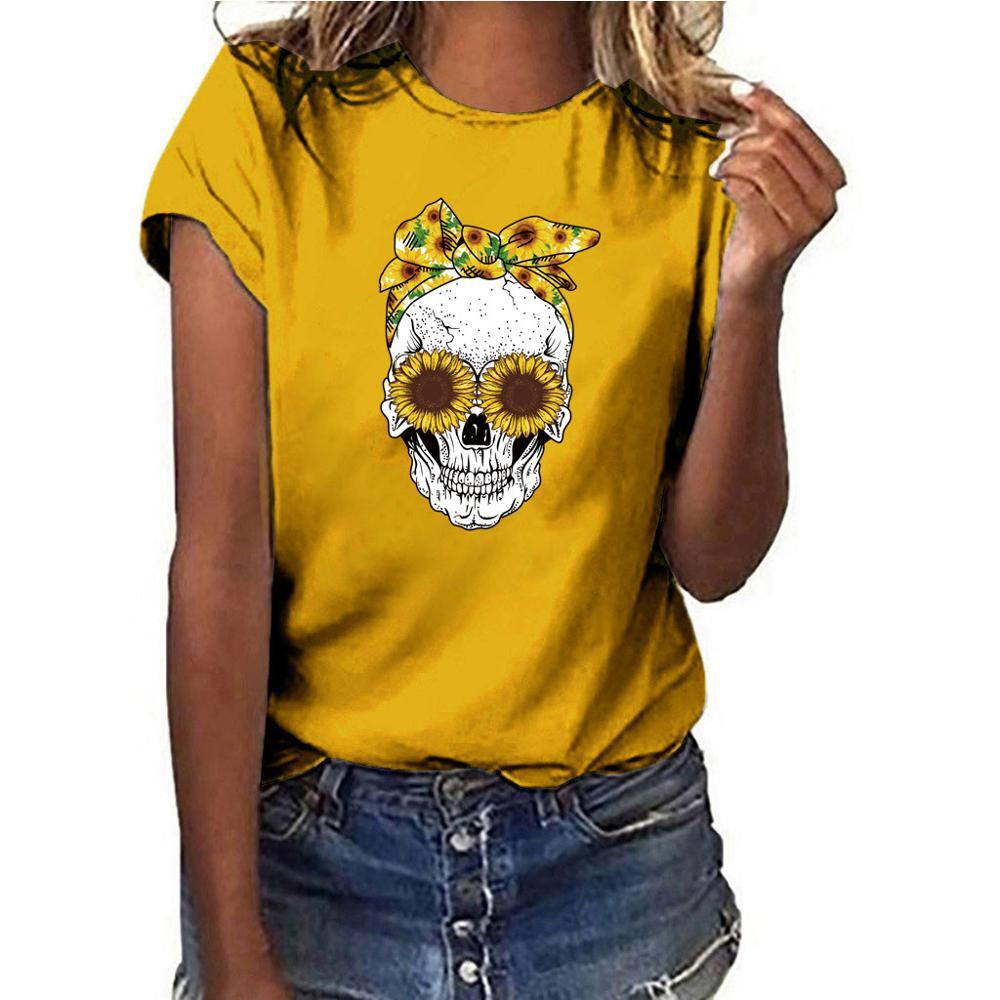 QIQIU V-Neck Loose Tops Womens 2019 New Fish Bones Printed T-Shirt Short Sleeve Fashion Casual T-Shirt Tee