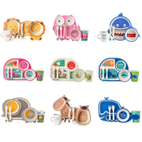 Bamboo Fiber Children S Tableware Set Baby Feeding Plate Set Bowl Cup Spoon Fork 5pcs Sets
