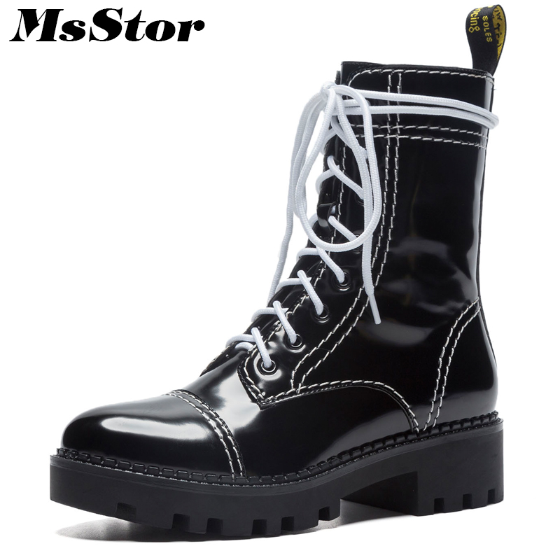 MsStor Women Boots 2018 Fashion Round Toe Square heel Ankle Boots Women Shoes Platform Med Heel Black White Boot Shoes For Girl