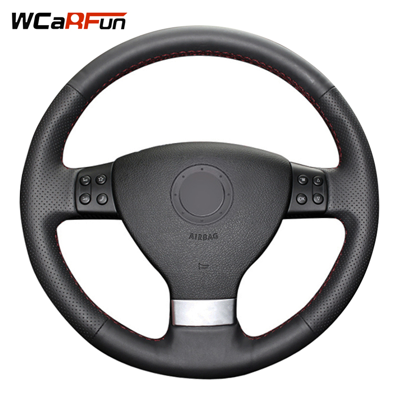 WCaRFun Black Leather Hand-Stitched Car Steering Wheel Cover for Volkswagen Passat B6 Golf 5 Mk5 VW Jetta 5 Mk5 Tiguan 2007-2011