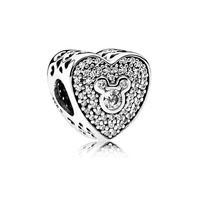 Top Quality 925 Sterling Silver Bead Charm Mickey Minnie Sparkling Heart Crystal Bead Fit Pandora Bracelet