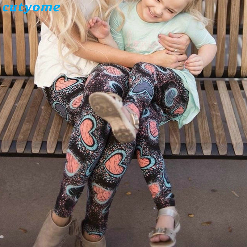 Family Look Mom And Daughter Matching Clothes Christmas Heart Leggings Pants Mother And Daughter Outfits Mommy And Me Trousers