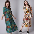 New 2016 Autumn Women Cotton Linen Dress Vintage Floral Printed O-neck Long Sleeve Dress Plus Size Vestidos AZ302