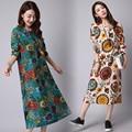 New 2016 Autumn Women Cotton Linen Dress Vintage Floral Printed O-neck Long Sleeve Dress Plus Size Vestidos AZ302