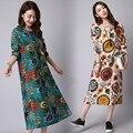Novo 2016 outono mulheres cotton linen dress vintage floral impresso o pescoço manga comprida dress plus size vestidos az302