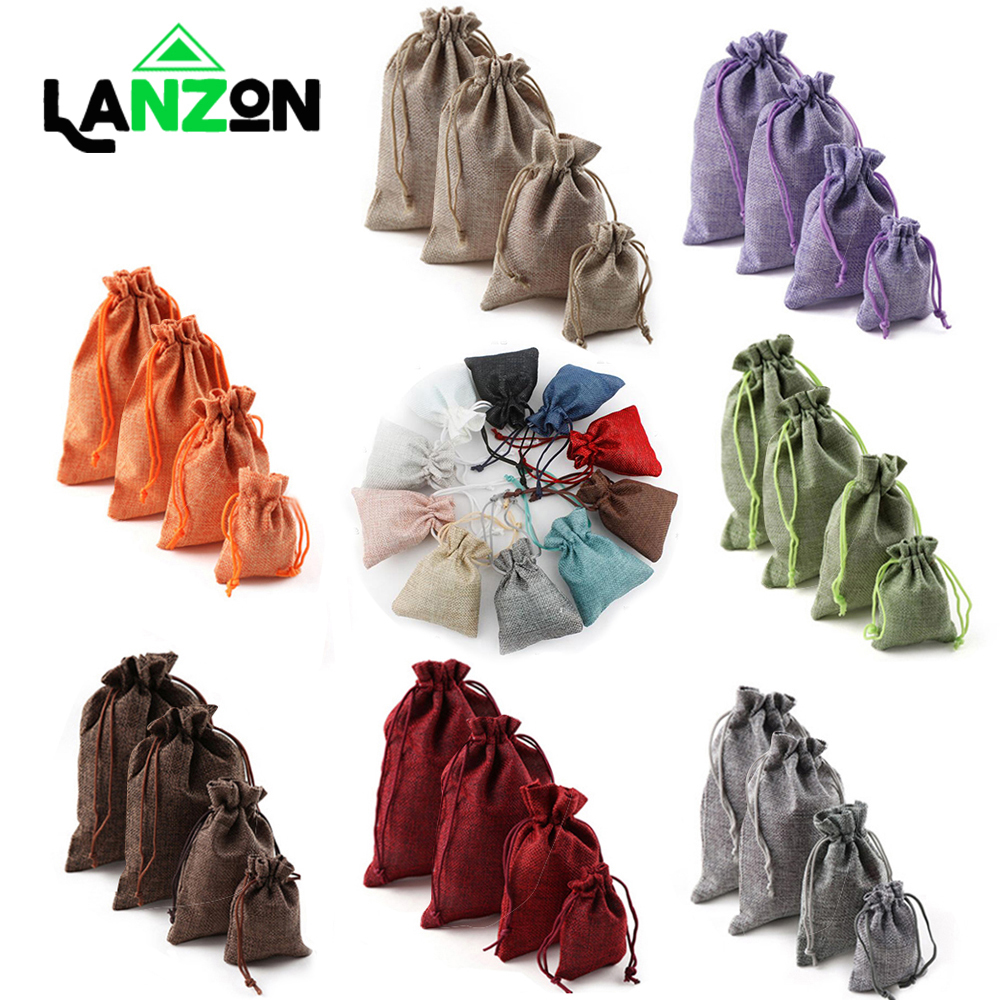 10Pcs Christmas Linen Jute Sack Drawstring Pouch Bag for Packaging Gift Wedding Candy Bags Hessian Burlap Home Party Storage Bag