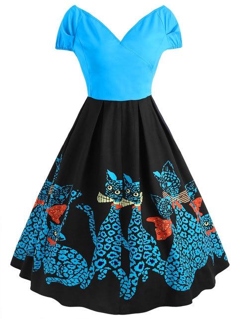 Kenancy Women Vintage Dress Plus Size Flare Retro Vintage Dress 50s Hepburn  Feminino Rockabilly Dresses V-Neck Party Dress