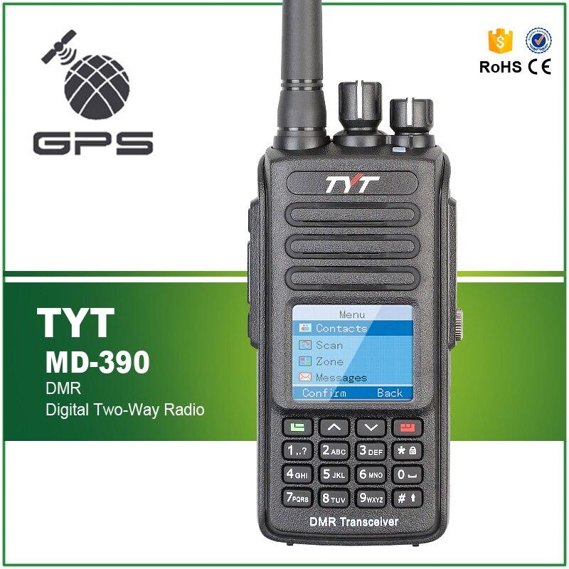 GPS TYT MD-390 DMR UHF 400-480 mhz IP67 Étanche 1000CH Analogique Numérique Combiné Talkie Walkie avec Écouteurs Pro câble