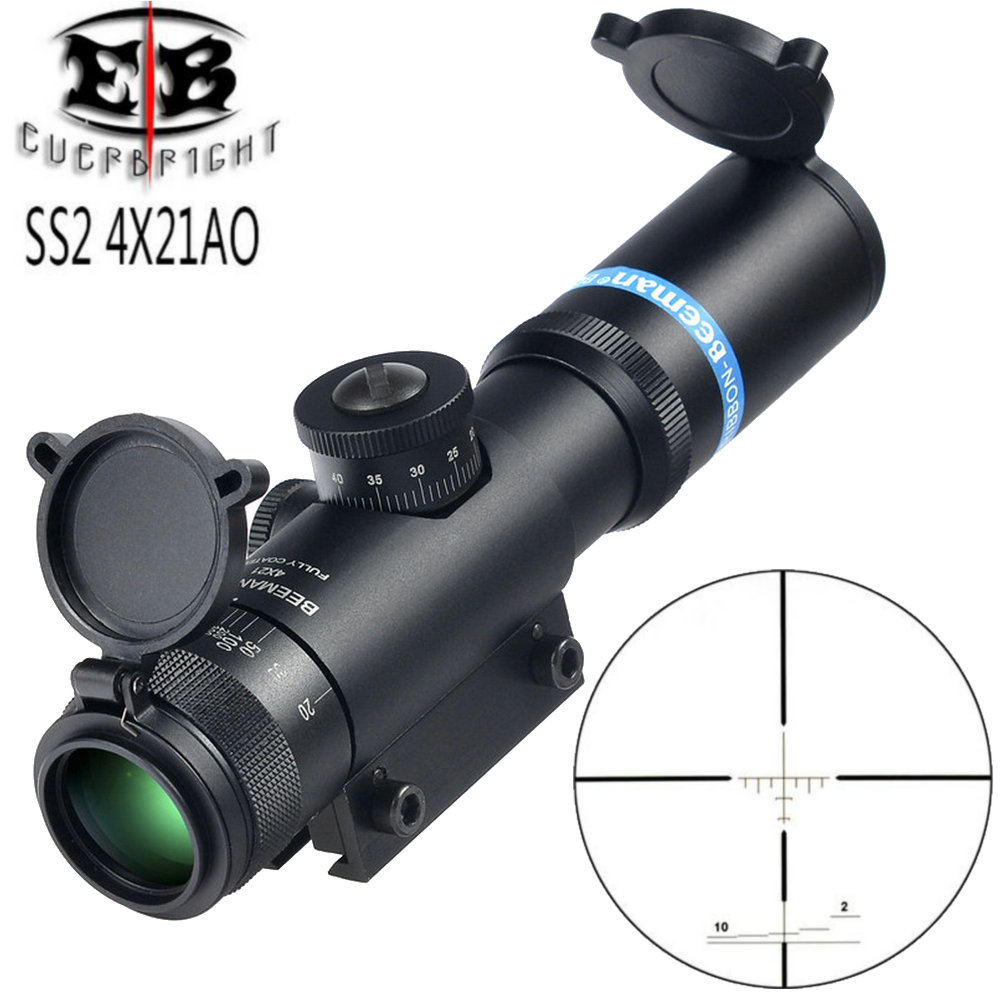 Здесь продается  EB SS2 4x21 AO Compact Hunting Air Rifle Scope Tactical Optical Sight Glass Etched Reticle Riflescope With Flip open Lens Caps  Спорт и развлечения