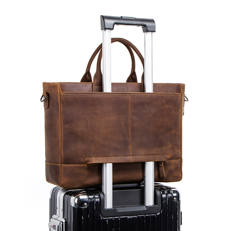 Bagaj ve Çantalar'ten Üstten Saplı Çanta'de İLETİŞİM çılgın at deri erkek seyahat çantası 15.6 inç dizüstü bilgisayar için büyük duffel çanta erkek omuzdan askili çanta vintage messenger çanta'da  Grup 2