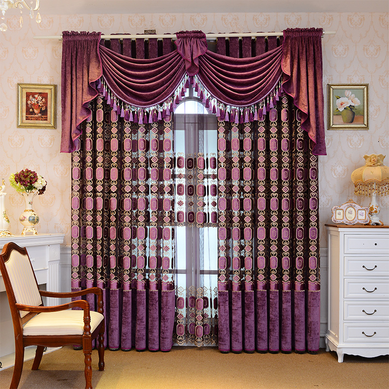 Custom curtains Noble Purple Velvet Embroidery Royal Geometric Pattern Luxury cloth blackout curtain tulle valance N346