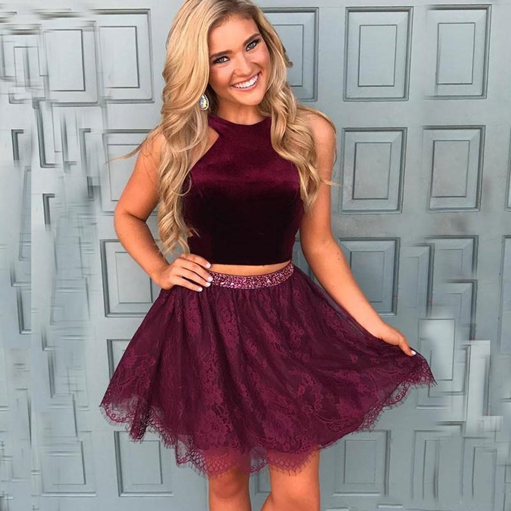Burgundy Two Pieces Prom Dresses short Sexy halter backless homecoming dress Fashion knee length formal Evening prom Party gowns