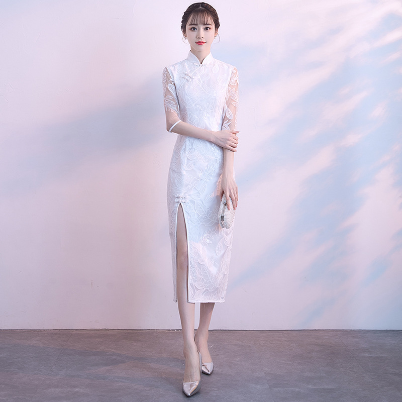 Noble Female White High Split Sexy Qipao Chinese Vintage Lace Long Cheongsam Elegant Mandarin Collar Dress Vestidos Size S 3XL