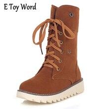 E игрушки слово женские зимние ботинки короткие теплые боты с толстой хлопковой подкладкой Однотонная повседневная обувь Туфли на шнуровке с плоской подошвой Для женщин большие размеры 35–43