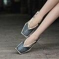 Venda quente do couro genuíno sandálias de couro do dedo do pé quadrado mulheres sapatos de saltos baixos sandálias de couro 088-13
