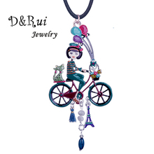 D&Rui Jewelry Holiday Girl Necklaces Creative Design Enamel Bike Pendant Christmas Gifts Fashion Rope Chain Necklace for Girls