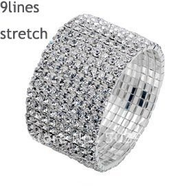 fashion popular stretch 9ROWS silver rhinestone crystal bracelet
