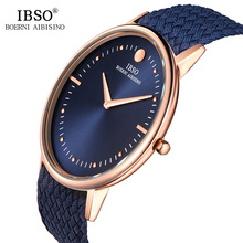 IBSO New 7.5MM Ultra-thin Mens Watches 2019 Blue and Black Nylon Braided Strap Quartz Wristwatch Casual Fashion Watch Men Clock