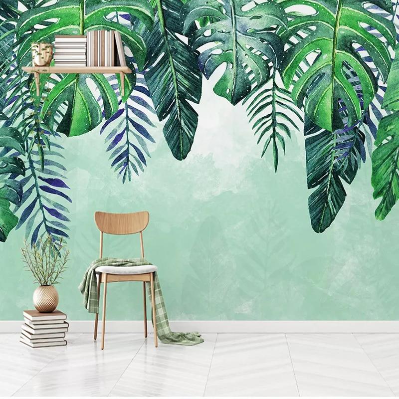 Custom Murals Wallpaper 3D Green Leaf Photo Wall Painting Living Room TV Sofa Bedroom Background Wall Decor Papel De Parede 3 D