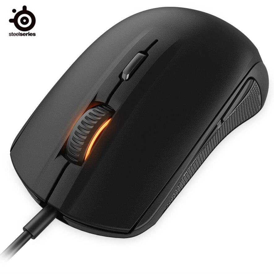 Marke Neue Steelseries Rivalen 100 Gaming Maus Mäuse USB Verdrahtete Optische 4000DPI Maus Mit Prism RGB Beleuchtung Für LOL CS