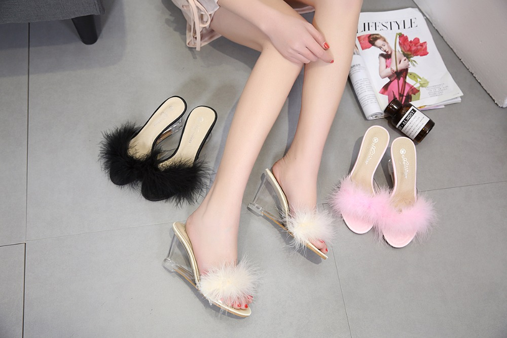 3 Color Female Slipper 35-40 Women Shoes Slides Ultra-high-heeled 8.5cm Feather Wedges Crystal Transparent Wedding Shoes 5