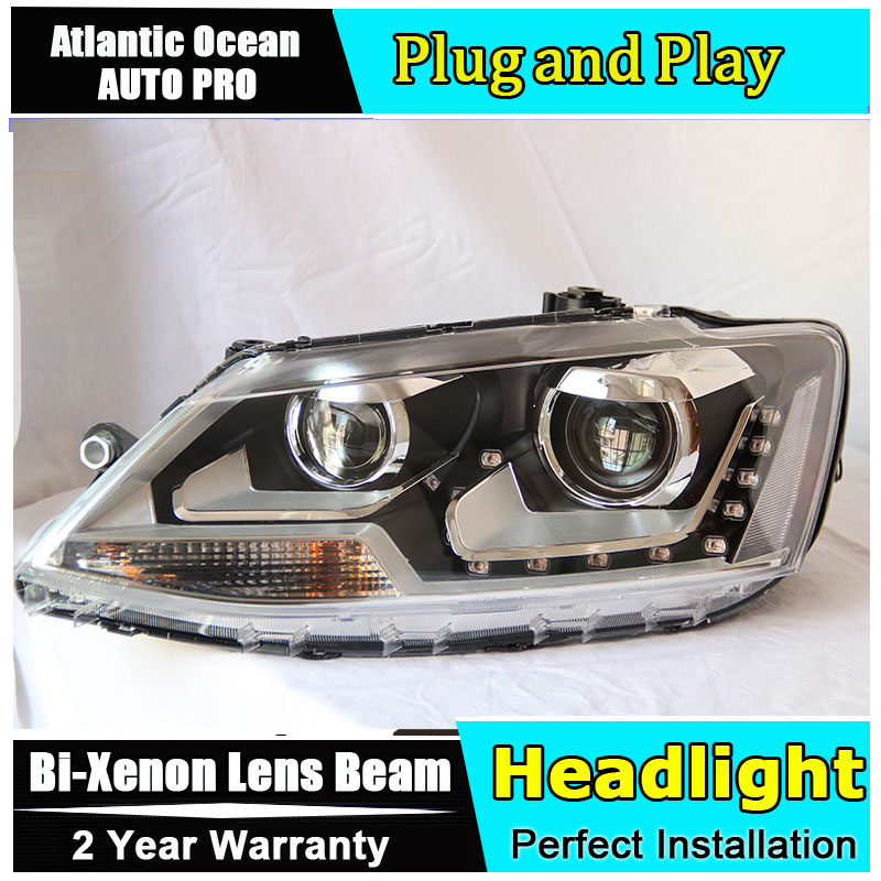 Car Styling For VW Jetta headlights 2011-2014 Jetta MK6 LED Headlight VW new Jetta HID KIT LED Bi-Xenon Lens low be