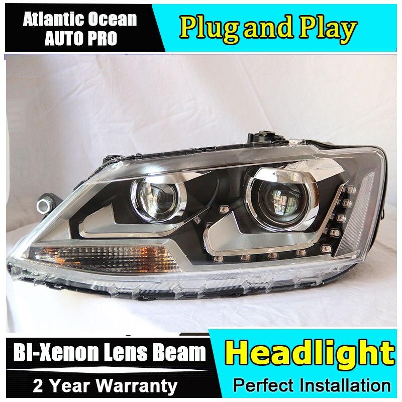 Car Styling For VW Jetta headlights 2011-2014 Jetta MK6 LED Headlight Volks Wagen new Jetta drl HID KIT LED Bi-Xenon Lens low be
