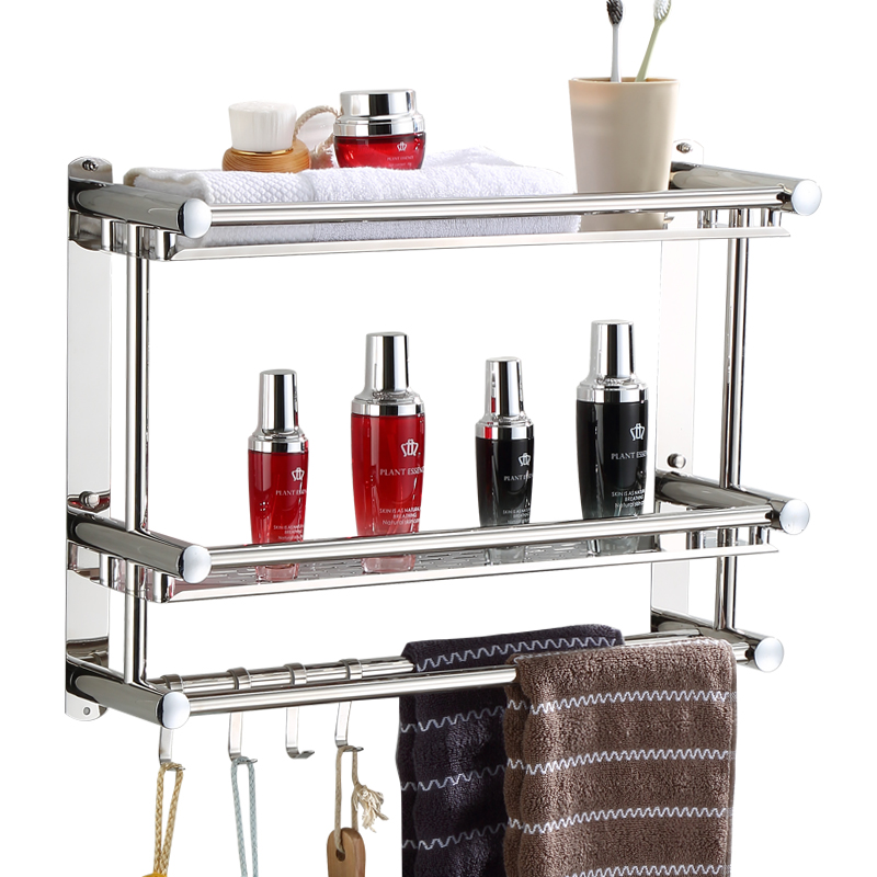 Modern 304 Stainless Steel Polished Bathroom Shelf Shower Shampoo Soap Cosmetic Shelves Bathroom Accessories with Robe Hook 304 stainless steel 280 140 500mm bathroom shelf bathroom products bathroom accessories 29016