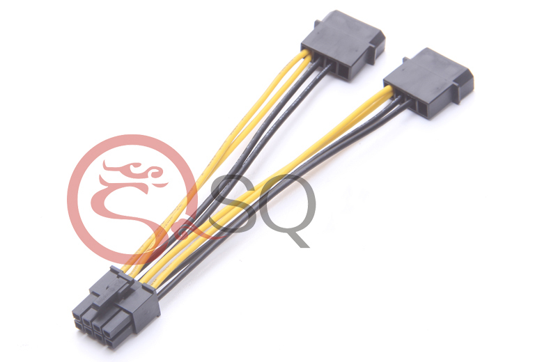 PC Server Internal Dual 2 IDE Molex to CPU 8Pin 8p Converter Power Lead Cable Cord 18AWG Wire 15cm