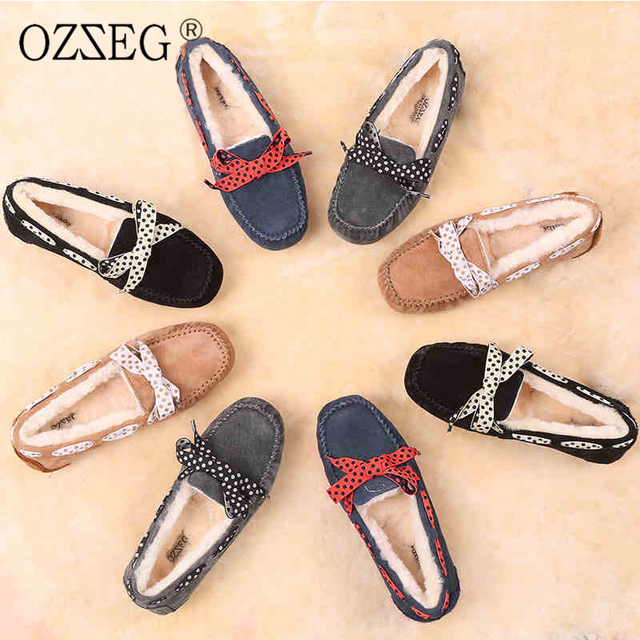2017 Comfortable luxury designer brand winter Female warm with lined real wool fur Moccasins Flat bow shoe women Loafers Knot up